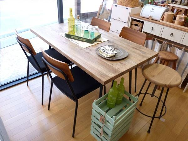 兵庫県、姫路市の手作りカントリー家具とかわいい雑貨の森のくに ラスティックスタイルのナラ材の古木のお買い得食卓5点セット!クッパ135食卓テーブル
