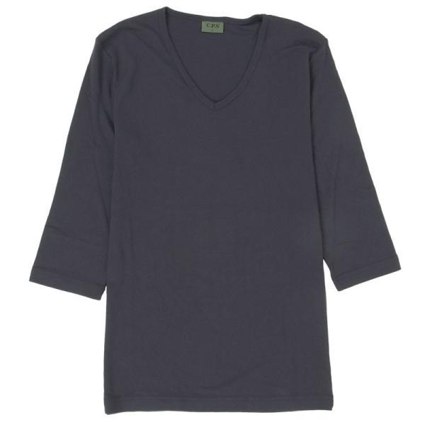 ロンT メンズ 長袖Tシャツ カットソー ロングTシャツ 7分袖 無地 Vネック シンプル インナー ストレッチ フライス トップス|mostshop|28
