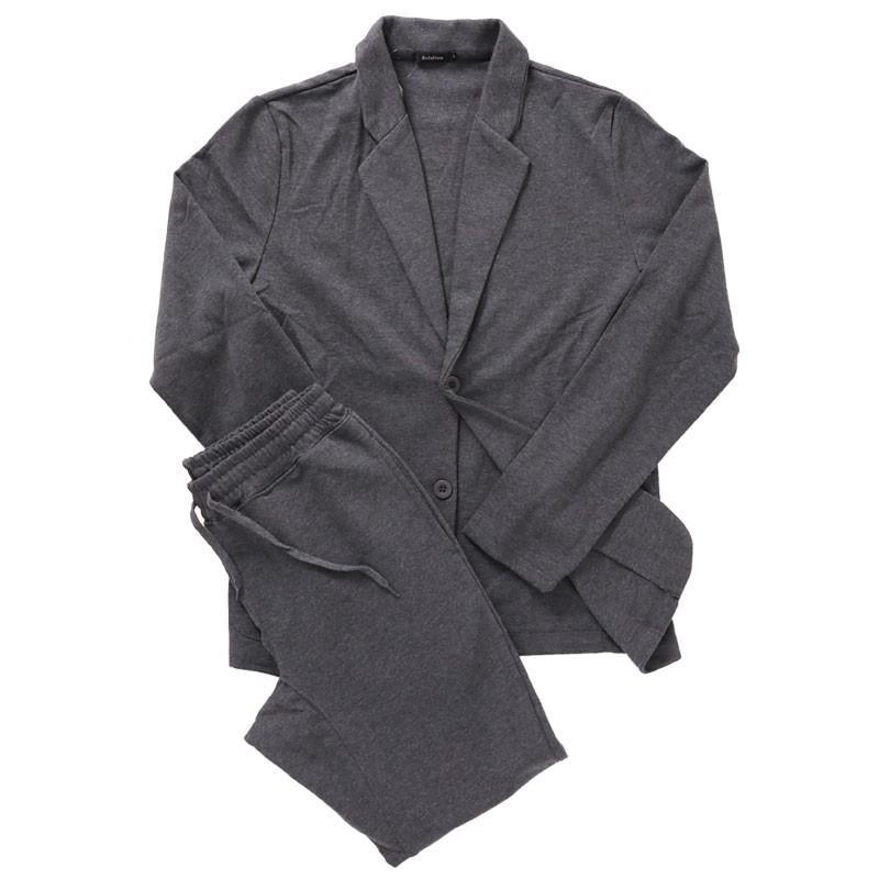 セットアップ メンズ カジュアルスーツ TCポンチスウェット素材 無地 テーラードジャケット ジョガーパンツ 上下セット|mostshop|22