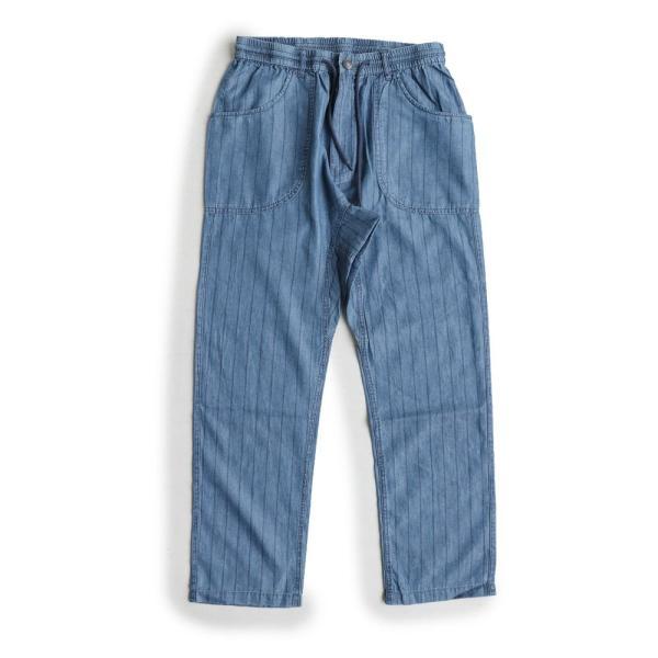 ガーデンパンツ 紐 ゴム ストライプ デニム リヨセル コットン 家庭洗濯 カジュアル ブルーストライプ インディゴストライプ メンズ  grn|mr-lunberjack|12