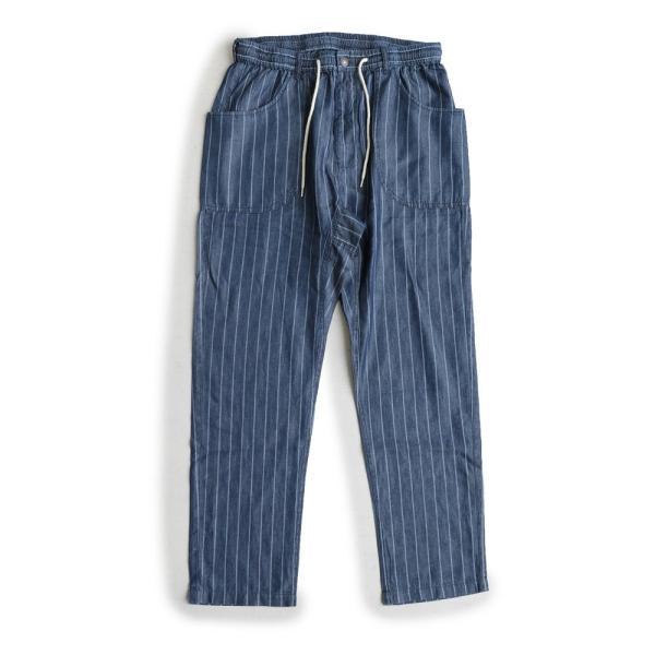 ガーデンパンツ 紐 ゴム ストライプ デニム リヨセル コットン 家庭洗濯 カジュアル ブルーストライプ インディゴストライプ メンズ  grn|mr-lunberjack|13