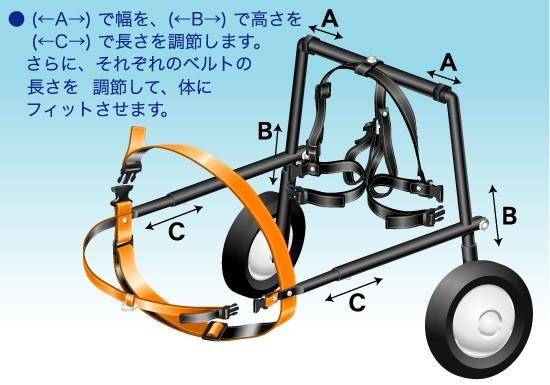 犬の車椅子DAW・アジャスタブル機構