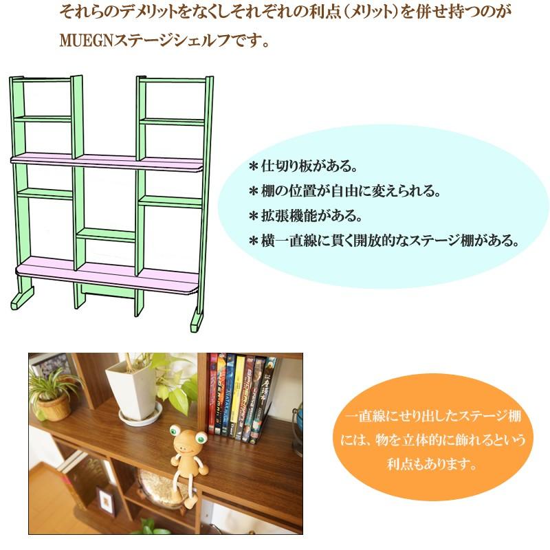 ボックス型シェルフメリット:仕切り板があり収納に便利。棚板の位置を自由に変えられる。モノによっては拡張機能があるものがある。デメリット:箱型のため閉塞感がありコレクションや観葉植物などを飾るのには適さない。      本を入れるように設計されているため奥行きがあり面積をとる。オープンシェルフメリット:棚幅は広く仕切りがなく開放感がありコレクション、観葉植物などの飾りをきれいに飾れる。 本や家電などもおける。デメリット:本を置く場合はブックエンドなどが必要。      棚の位置は固定。