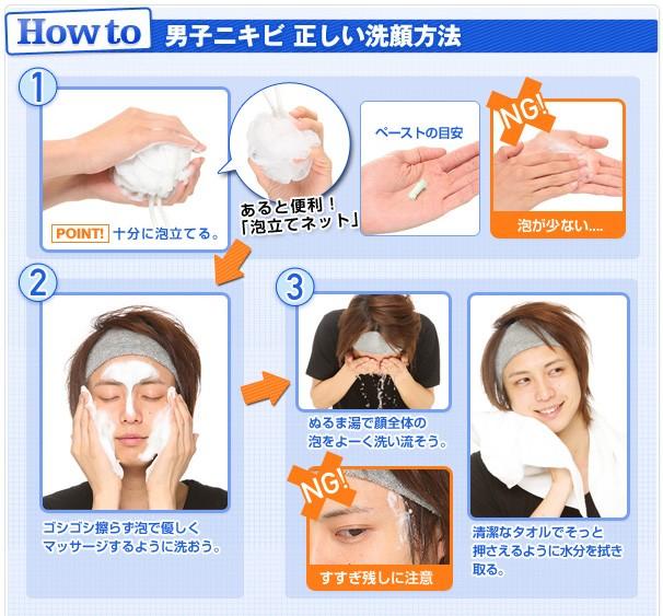 男子ニキビ 正しい洗顔方法