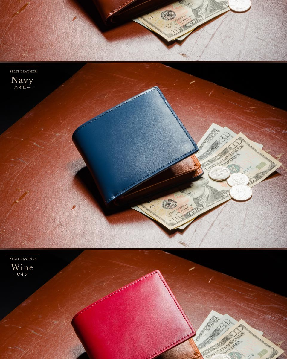 MURA 財布 メンズ 二つ折り カーボンレザー コードバン調 本革 大容量 収納 カード たくさん 牛革 男性 プレゼント ボックス型小銭入れ ボックス 型 2つ折り
