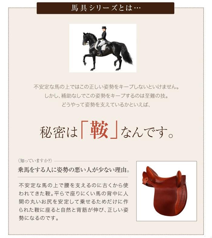 馬具シリ−ズとは・・・不安定な馬の上ではこの正しい姿勢をキープしないといけません。しかし、補助なしでこの姿勢をキープするのは至難の技。どうやって姿勢を支えているかといえば、秘密は「鞍」なんです。乗馬をする人に姿勢の悪い人が少ない理由。不安定な馬の上で腰を支えるのに古くから使われてきた鞍。平らで座りにくい馬の背中に人間の丸いお尻を安定して乗せるためだけに作られた鞍に座ると自然と背筋が伸び、正しい姿勢になるのです。