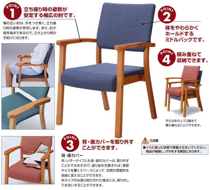 ポイント1:立ち座り時の姿勢が安定する幅広の肘です。ポイント2:体をやわらかくホールドするミドルバックです。ポイント3:背・座カバーを取り外すことができます。ポイント4:積み重ねて収納できます。