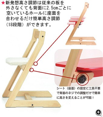 ★新発想高さ調節は従来の板を外さなくても背面に2.5cmごとに空いているホールに座面を合わせるだけ簡単高さ調節(18段階)できます。シート(座面)の固定に工具不要で背面のネジでの調節だけで簡単に高さを変えることが可能!
