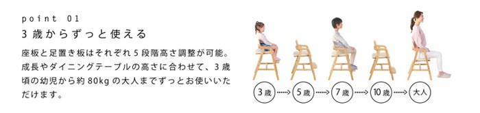 3歳からずっと使える:座板と足置き板はそれぞれ5段階高さ調節が可能。成長やダイニングの高さに合わせて、3歳頃の幼児かた(約)80kgの大人までずっとお使いいただけます。