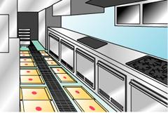 厨房など床面一面にねずみ捕り紙を並べます