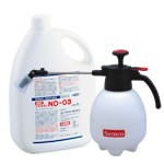 業務用ダニ駆除用殺虫剤と噴霧器のセット。