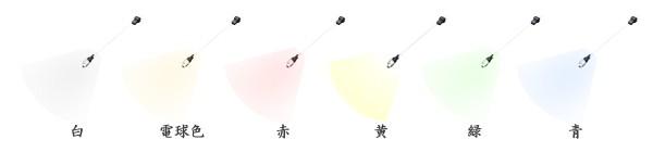 発光色は、白・電球色・赤・橙・黄・緑・青の7種が揃う