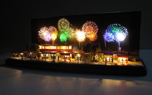 Nゲージミニジオラマ電飾工作例「花火大会」のご紹介3
