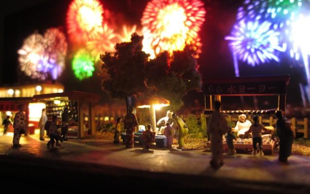 Nゲージミニジオラマ電飾工作例「花火大会」のご紹介2