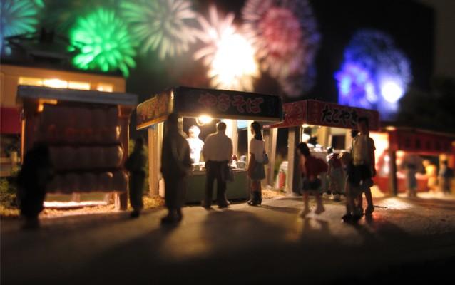 Nゲージミニジオラマ電飾工作例「花火大会」のご紹介4