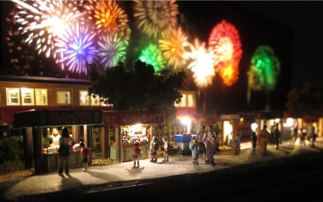 Nゲージミニジオラマ電飾工作例「花火大会」のご紹介5