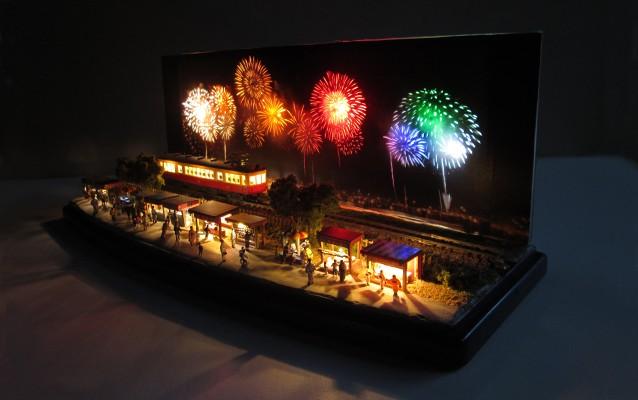 Nゲージミニジオラマ電飾工作例「花火大会」のご紹介1
