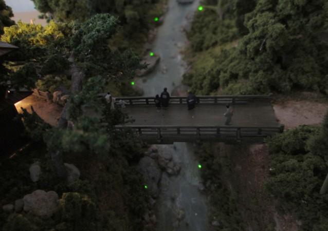 Nゲージミニジオラマ 蛍の見られる小川の情景1
