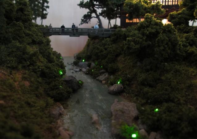 Nゲージミニジオラマ 蛍の見られる小川の情景2