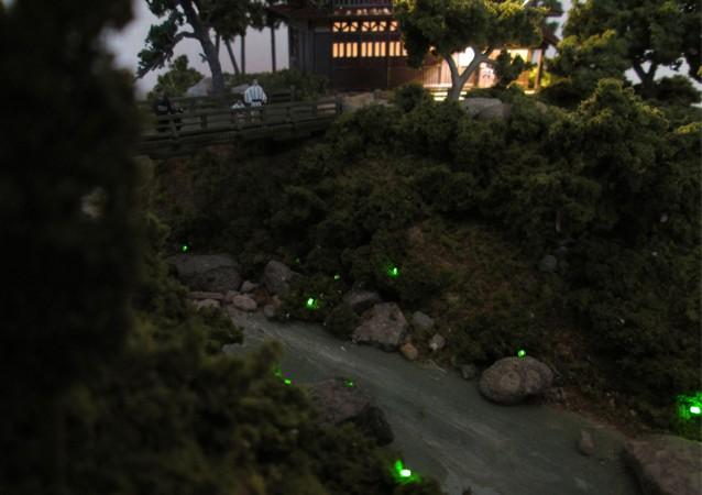 Nゲージミニジオラマ 蛍の見られる小川の情景3