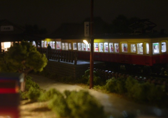 Nゲージミニジオラマ LED街灯による演出1