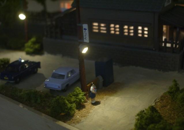鉄道模型Nゲージミニジオラマ LED街灯による演出2