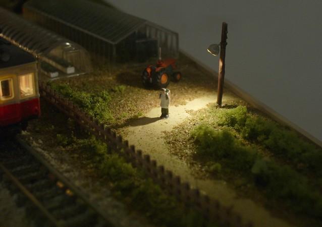 鉄道模型Nゲージミニジオラマ 街灯による演出3