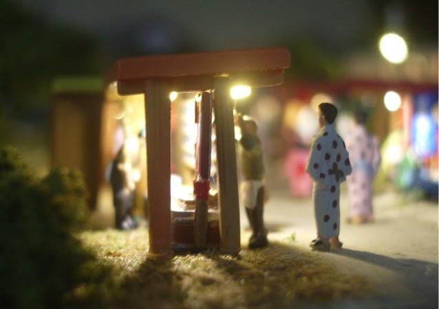 鉄道模型Nゲージミニジオラマ お面屋さんの露店