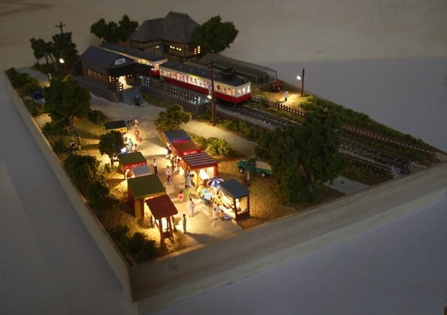 Nゲージミニジオラマ「昭和の田舎の夏休み」LED夜景全景