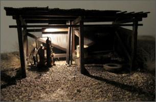造形模型作品「木造倉庫2」