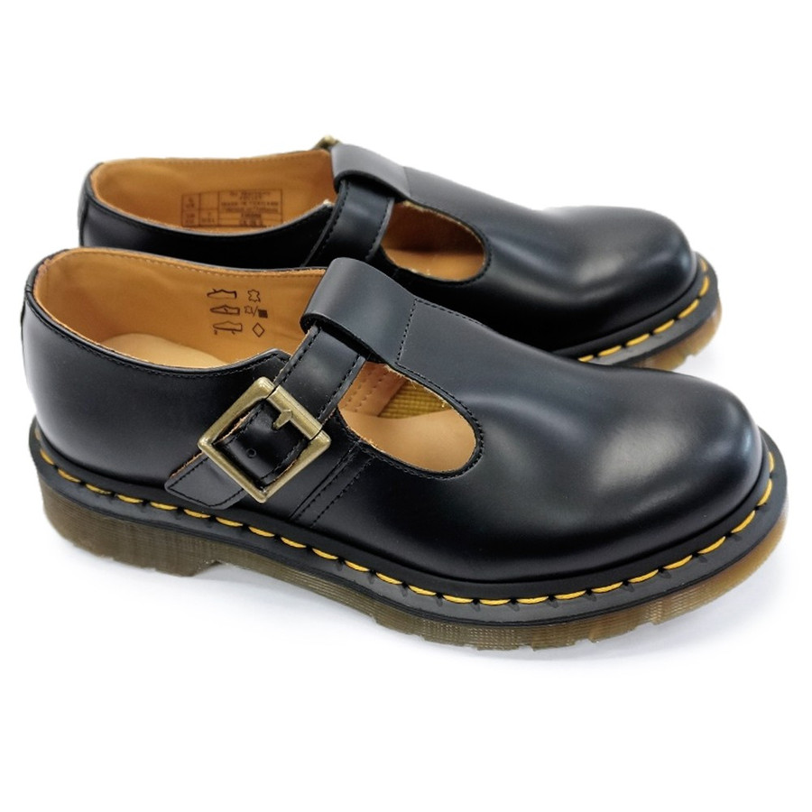 Dr.Martens Polley Black Youth T Lamper Leather T-Bar Low-profile School Shoes