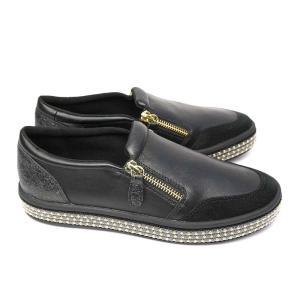 GEOX 靴 レディース スニーカー D94FFF ジェオックス スリッポン レザー フ ァスナー 黒 ゴールド 蒸れない|マイスキップ
