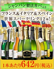 シャンパーニュ製法カバを含む世界の泡12本セット