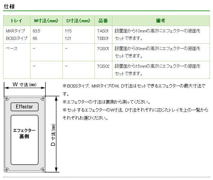 MzTray(エムズトレイ)仕様。MXRタイプ、BOSSタイプ、ベース