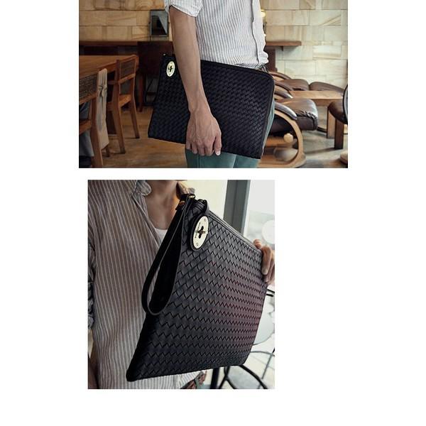 f2e067f8191c リアルPUレザー編み込み風クラッチバッグ ビジネス 人気 メンズ バッグ ...