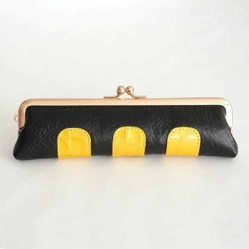 がま口 コインケース  クロコ・コンビ 3ポケット小銭入れ 細長い 牛革 プレゼント ギフトに最適 がまぐち 財布 サイフ さいふ|nagoya-itoya|12