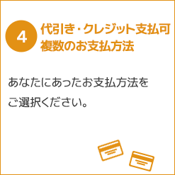 4, 代引き・クレジット支払い可 複数のお支払方法