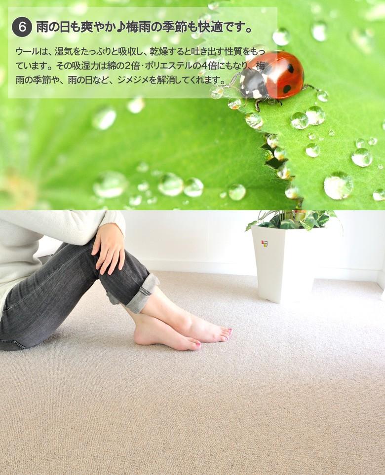 雨の日も、爽やかなに快適なカーペット。梅雨の季節も快適なウールは湿気をたっぷりと吸収し、空気が乾燥すると吐き出す性質をもっています。湿気を吸ってくれる優れた繊維です。