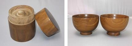 槐の茶筒と汁椀