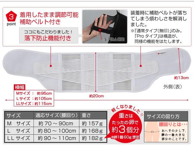 装着したまま調節可能な補助ベルト付き