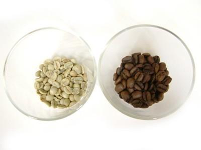 生豆と焙煎豆の比較