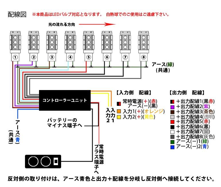 LED専用 流れる8連リレー