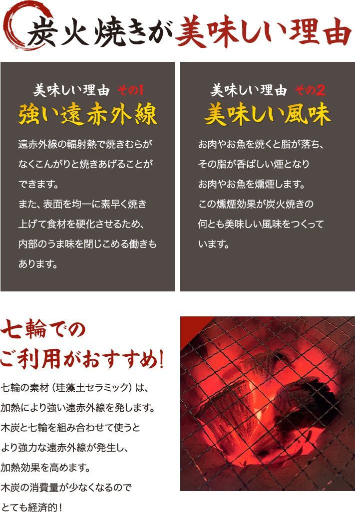 炭焼きが美味しい理由〜強い遠赤外線と美味しい風味〜七輪でのご利用がおすすめ!