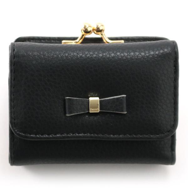 レディース がま口 3つ折り財布 リボン財布 グレインフェイクレザー×リボンパーツ がま口折り財布 Paquet du Cadeau パケカドー ZU-C1419|naturalberry|07