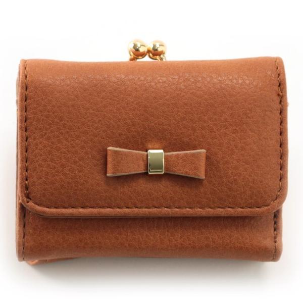 レディース がま口 3つ折り財布 リボン財布 グレインフェイクレザー×リボンパーツ がま口折り財布 Paquet du Cadeau パケカドー ZU-C1419|naturalberry|08