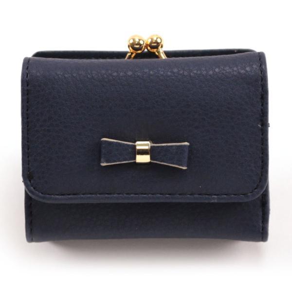 レディース がま口 3つ折り財布 リボン財布 グレインフェイクレザー×リボンパーツ がま口折り財布 Paquet du Cadeau パケカドー ZU-C1419|naturalberry|11