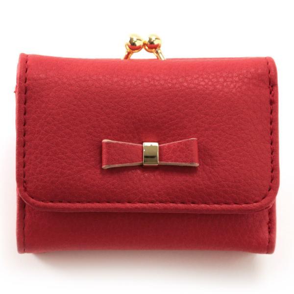 レディース がま口 3つ折り財布 リボン財布 グレインフェイクレザー×リボンパーツ がま口折り財布 Paquet du Cadeau パケカドー ZU-C1419|naturalberry|10