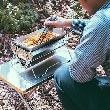 炒めものには[グリルプレート]がおすすめ。2~4人分のキャンプ飯に◎
