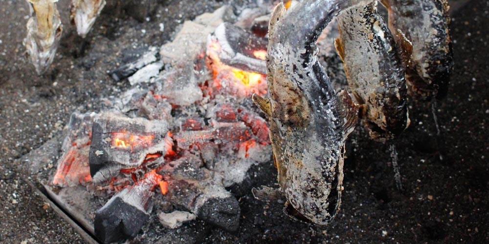 自分で釣った魚を串焼きにして豪快に食べよう!