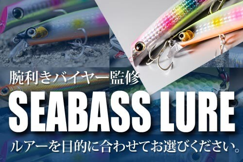 SEABASS LURE 〜 ナチュラム腕利きバイヤー監修。シーバスルアーをフィールド、ルアータイプ、サイズなどから目的に合わせてお選びください。